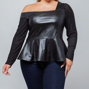 Plus Size PU Leather One Shoulder Peplum Top